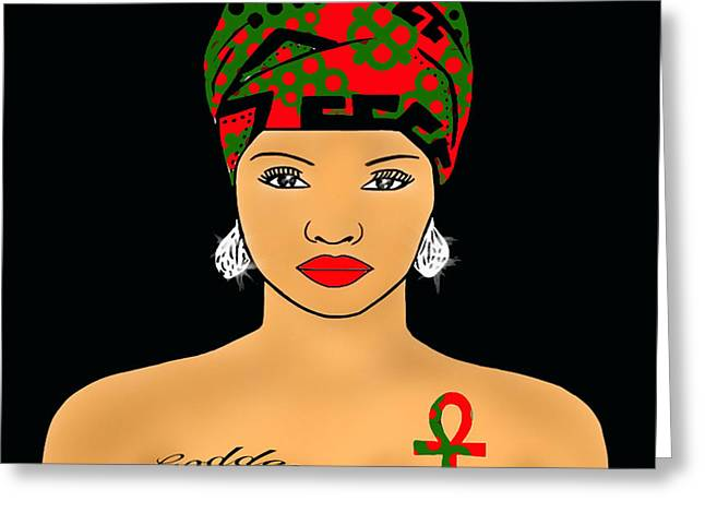 Afrocentric Art Greeting Cards - RBG Nubian Goddess  Greeting Card by Respect the Queen
