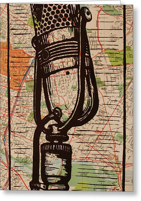 Lino Greeting Cards - RCA 77 on Austin Map Greeting Card by William Cauthern