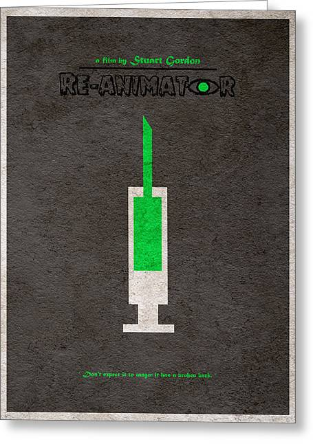 Horror Movies Greeting Cards - Re-Animator Greeting Card by Ayse Deniz
