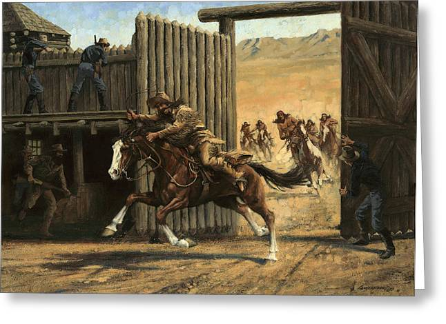 Best Sellers -  - Brigade Greeting Cards - Re-closing Frontiersmen Coming into the Fort Greeting Card by Don  Langeneckert
