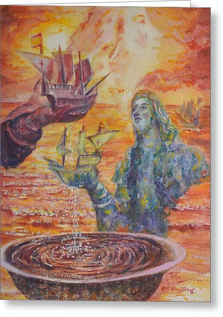 Old San Juan Paintings Greeting Cards - Re-encounter with Borinquen Greeting Card by Estela Robles Galiano