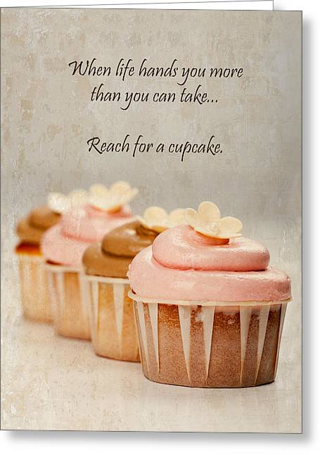Baked Greeting Cards - Reach for a Cupcake Greeting Card by Susan  Schmitz