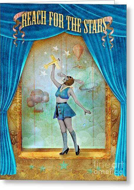 Coloured Greeting Cards - Reach for the Stars Greeting Card by Aimee Stewart