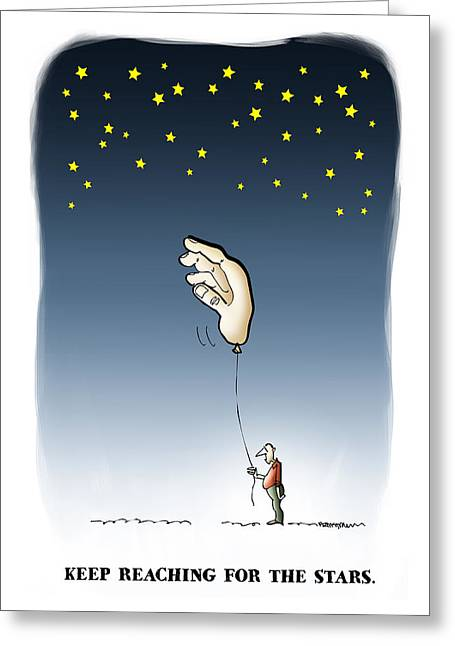 Mockery Greeting Cards - Reach For The Stars Greeting Card by Mark Armstrong