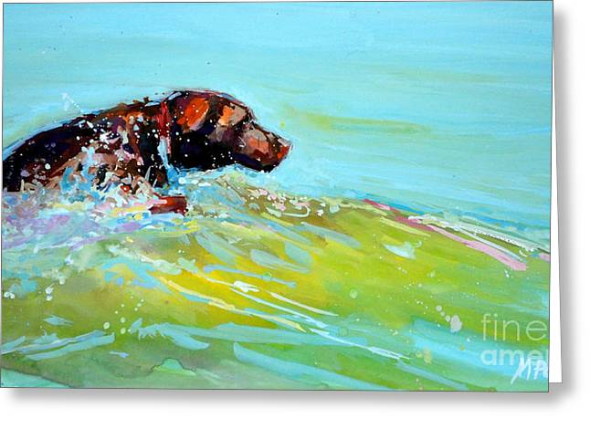 Dog Swimming Greeting Cards - Reach Greeting Card by Molly Poole