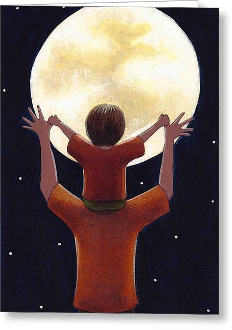Daddy Greeting Cards - Reach the Moon Greeting Card by Christy Beckwith