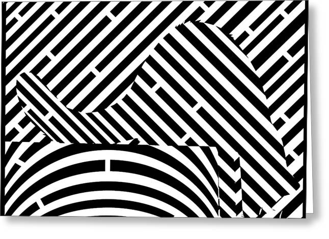 Mazes Mixed Media Greeting Cards - Reaching Cat Maze Op Art Greeting Card by Yonatan Frimer Op Art Mazes