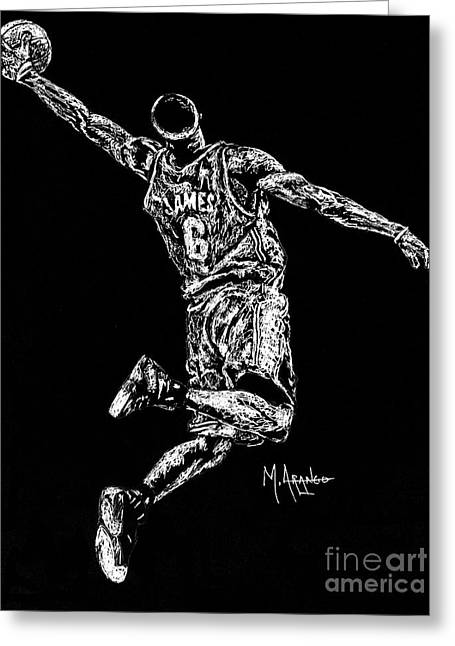 Nba Basketball Greeting Cards - Reaching for Greatness Greeting Card by Maria Arango