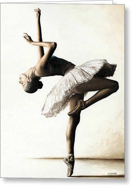Ballet Dancers Paintings Greeting Cards - Reaching for Perfect Grace Greeting Card by Richard Young
