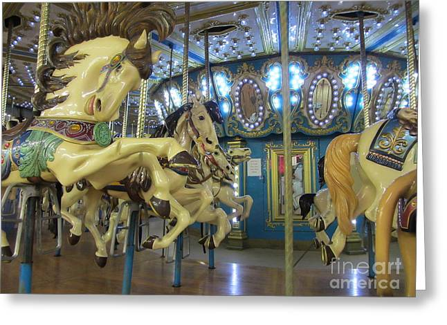 Amusements Greeting Cards - Reaching For The Gold Ring Greeting Card by Susan Carella