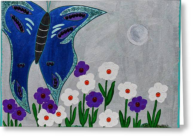Moon Mixed Media Mixed Media Greeting Cards - Reaching For The Moon Greeting Card by Donna Blackhall