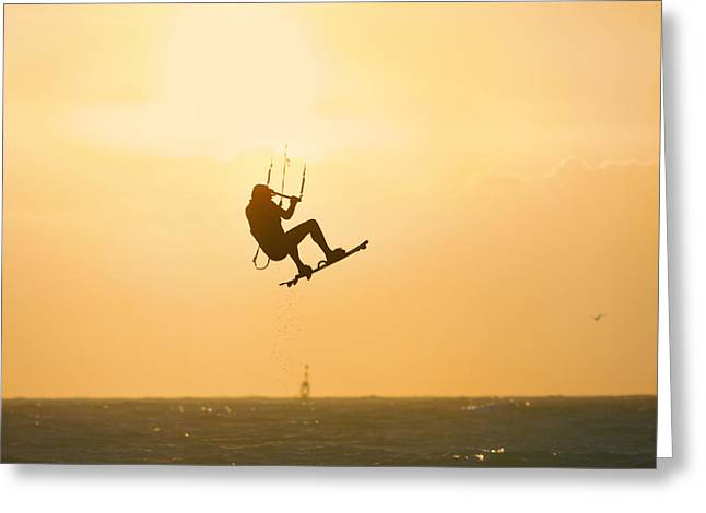 Kite Surfing Greeting Cards - Reaching for the skies Greeting Card by Ralph Urlus