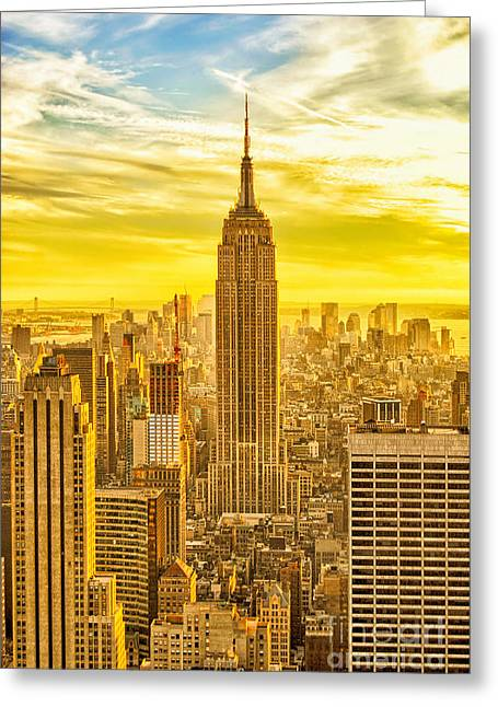 Limitless Greeting Cards - Reaching for the Sky Empire State Building New York City Greeting Card by Sabine Jacobs