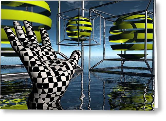 Magical Realism Greeting Cards - Reaching From The Darkness Of The Shadow - From The Unconscious To The Dance Of Spheres Greeting Card by Jon D Gemma