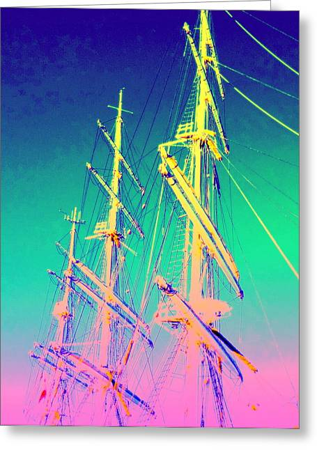 Sailboats In Water Greeting Cards - Reaching Higher Greeting Card by Hilde Widerberg