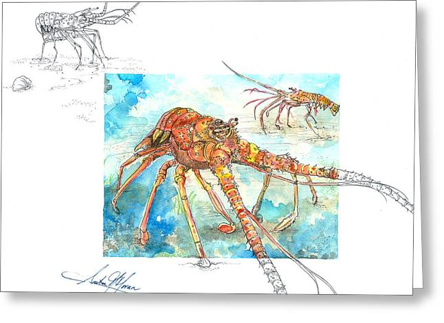 Scuba Diving Mixed Media Greeting Cards - Reaching Lobster Greeting Card by Amber M  Moran