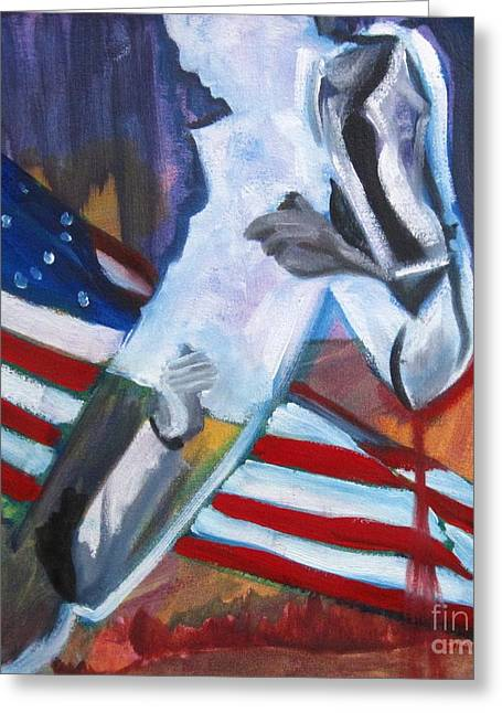 Civil Liberties Paintings Greeting Cards - Reaching Over Color Greeting Card by Katrina West