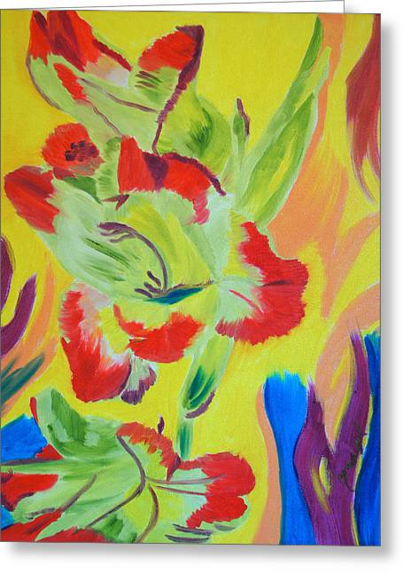 Gladiolas Paintings Greeting Cards - Reaching Up Greeting Card by Meryl Goudey