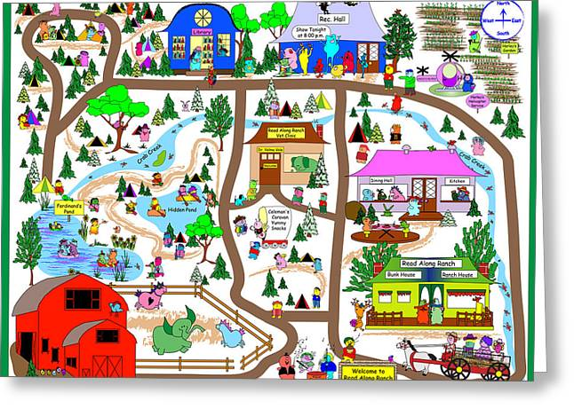 Huckleberry Digital Art Greeting Cards - Read Along Ranch Map Greeting Card by Chris Morningforest