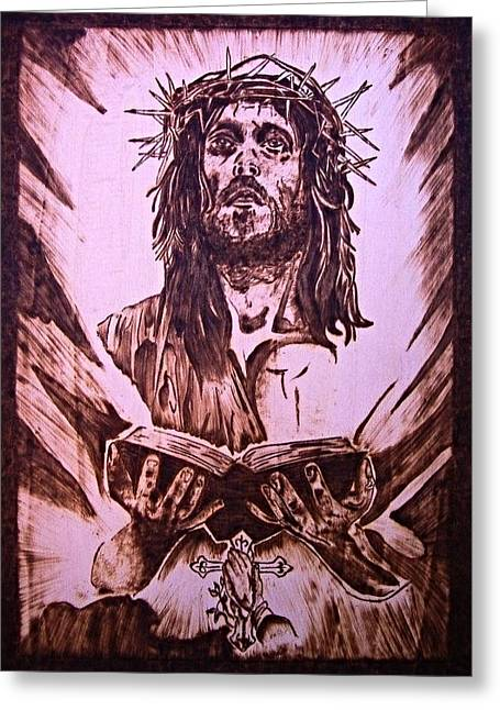 Gospel Pyrography Greeting Cards - Read Gospel Greeting Card by G S