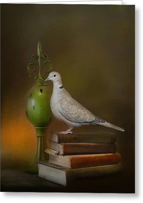 Olive Green Greeting Cards - Read Me A Story Greeting Card by Jai Johnson