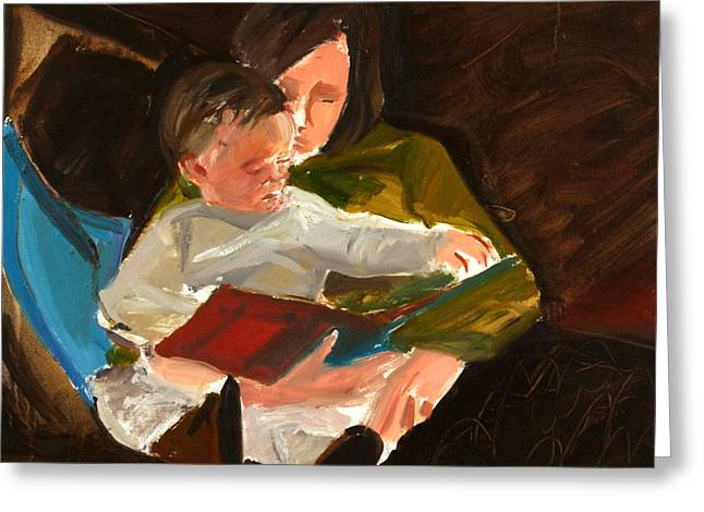 Mother Greeting Cards - Reading, 2004 Oil On Linen Greeting Card by Daniel Clarke