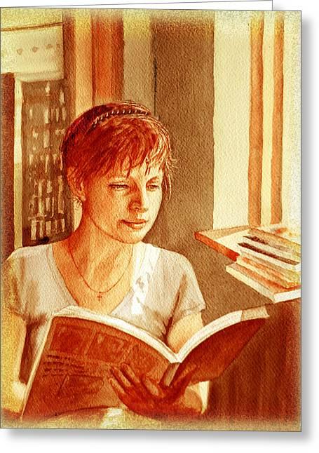 Reading A Book Vintage Style Greeting Card by Irina Sztukowski