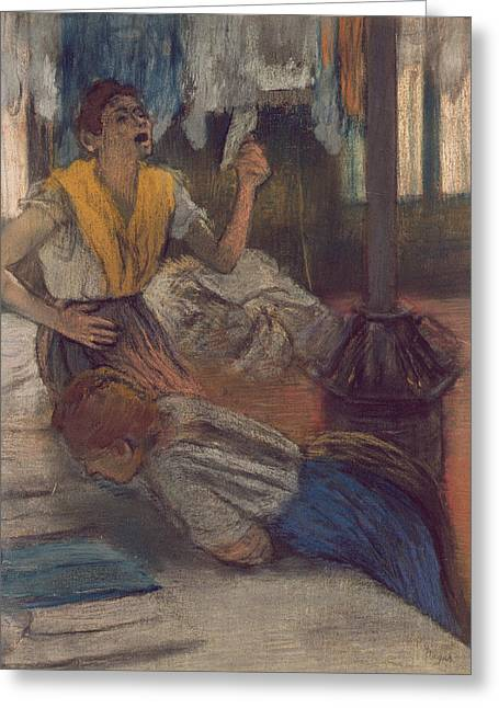 Shock Paintings Greeting Cards - Reading a Letter Greeting Card by Edgar Degas