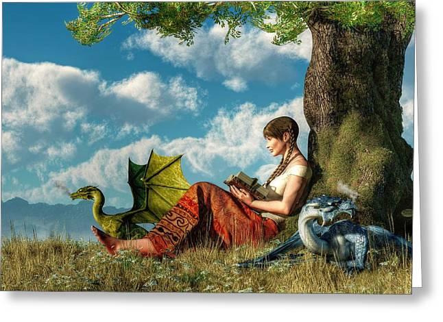 Best Sellers -  - Dungeons Greeting Cards - Reading About Dragons Greeting Card by Daniel Eskridge
