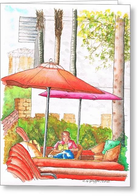 Paisajes Greeting Cards - Reading alone by the pool in the Golden Nugget Hotel and Casino in Laughlin - Nevada Greeting Card by Carlos G Groppa