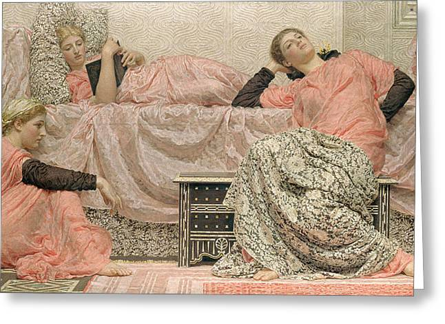 Pre-19th Greeting Cards - Reading Aloud Greeting Card by Albert Joseph Moore