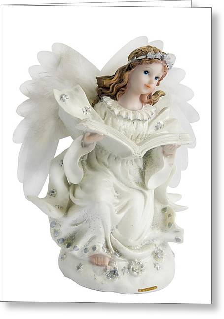 Wooden Sculpture Greeting Cards - Reading Angel girl  Greeting Card by Aleksandr Volkov