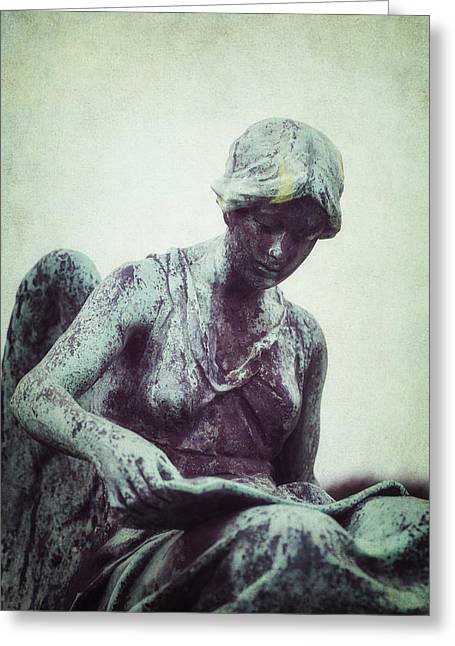 Religious Statues Greeting Cards - Reading Angel Greeting Card by Joana Kruse