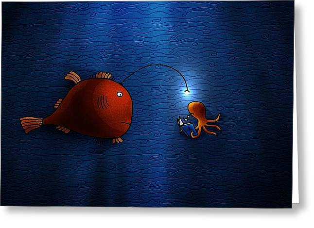 Abstract Digital Digital Art Greeting Cards - Reading Buddies Greeting Card by Gianfranco Weiss