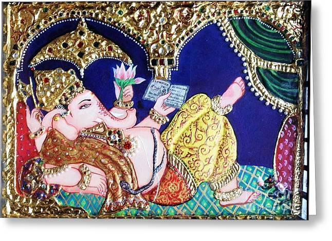 Kami A Greeting Cards - Reading Ganesha Greeting Card by Jayashree