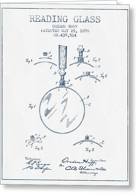 Glass Wall Greeting Cards - Reading Glass Patent from 1890- Blue Ink Greeting Card by Aged Pixel