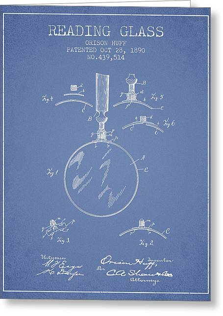Glass Wall Greeting Cards - Reading Glass Patent from 1890 - Light Blue Greeting Card by Aged Pixel