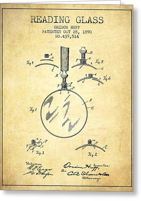 Glass Wall Greeting Cards - Reading Glass Patent from 1890 - Vintage Greeting Card by Aged Pixel