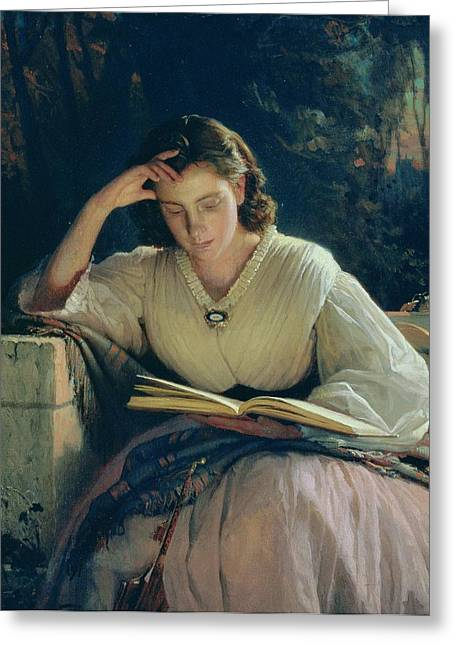 Educate Greeting Cards - Reading Greeting Card by Ivan Nikolaevich Kramskoy