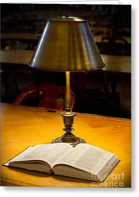 Reading Lamp And Book Greeting Card by Jerry Fornarotto