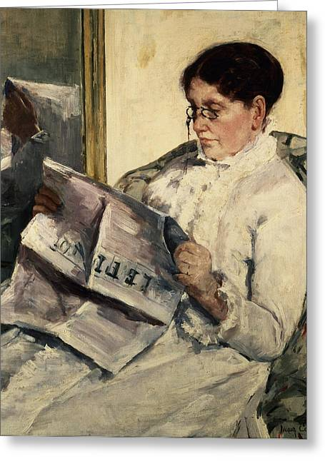 Reading Le Figaro Greeting Card by Mary Stevenson Cassatt