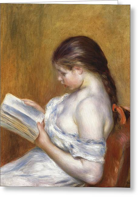 Youthful Greeting Cards - Reading Greeting Card by Pierre Auguste Renoir