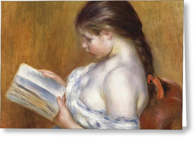 Reading Greeting Card by Pierre Auguste Renoir