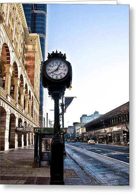 Reading Terminal Clock - Market Street Greeting Card by Bill Cannon