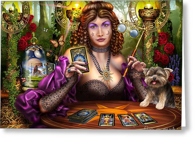 Theatrical Performance Greeting Cards - Reading the Gilded Tarot Greeting Card by Ciro Marchetti