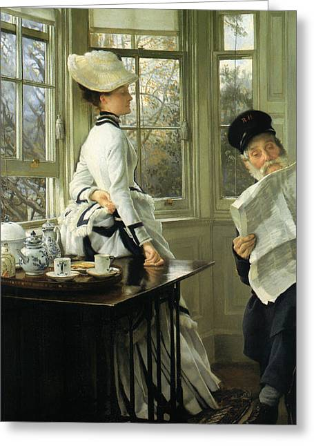 Old Man Reading Greeting Cards - Reading the News Greeting Card by James Tissot