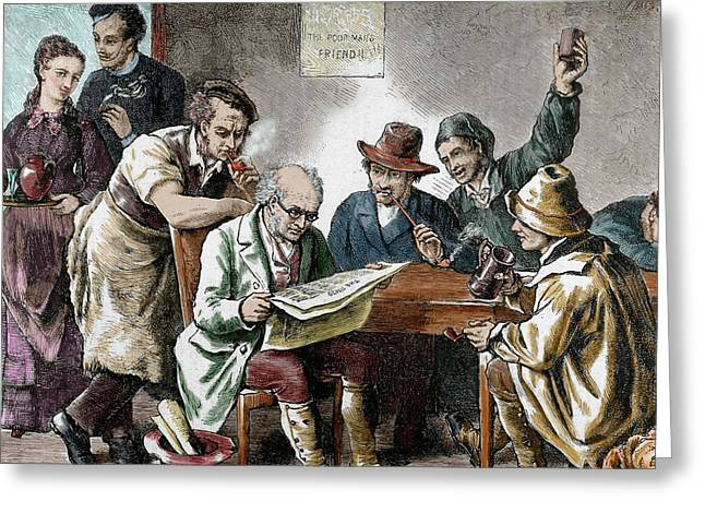 Reading The Newspaper In The Tavern Greeting Card by Prisma Archivo