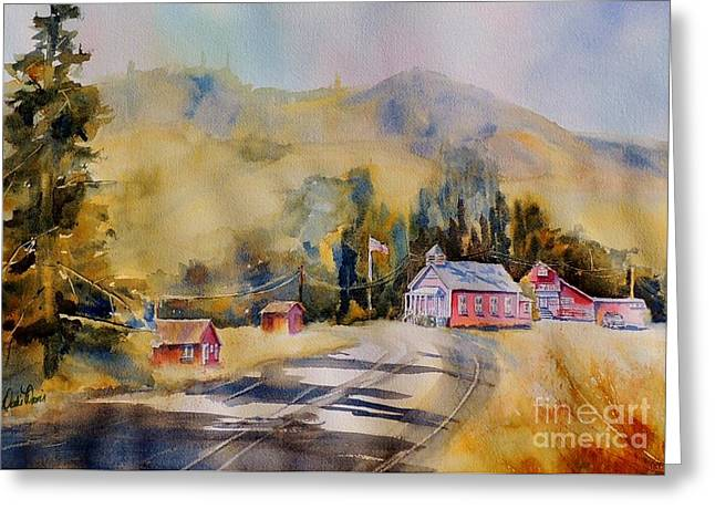 Old School Houses Paintings Greeting Cards - Reading Writing and Arithmetic Greeting Card by Dodie Davis