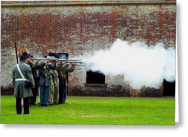 Colonial Actors Greeting Cards - Ready  Aim  Fire Greeting Card by Cindy Croal