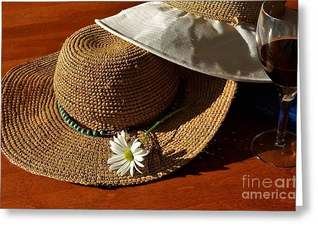 Wide Brim Hat Greeting Cards - Ready and Waiting Greeting Card by Pamela Blizzard